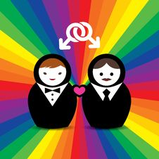 Gay Couple Married Doll Stock Photography