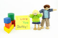 Free Father And Daughter Wooden Toys With Card Stock Photo - 31693710