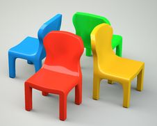 Free Four Colored Cartoon-styled Chairs Royalty Free Stock Image - 31696066