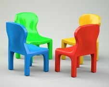 Free Four Colored Cartoon-styled Chairs Stock Image - 31696081