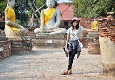 Free Asian Woman And Buddha At Wat Yai Chai Mongkol Temple. Ayutthaya Royalty Free Stock Images - 31697309