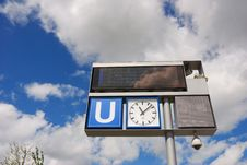 Free Subway Sign With Clock Stock Photo - 3170160