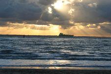 Sundown At Sea Stock Images