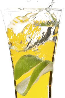 Free Glass With Juice And Lime Royalty Free Stock Photos - 3171758