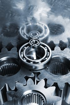 Power Gears In Blue Stock Image