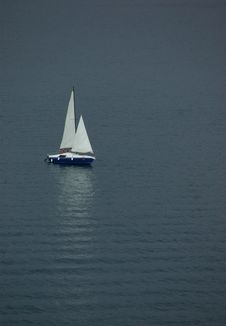 Free Lonely Sail Boat At The Sea Of Montenegro Stock Photo - 3177430