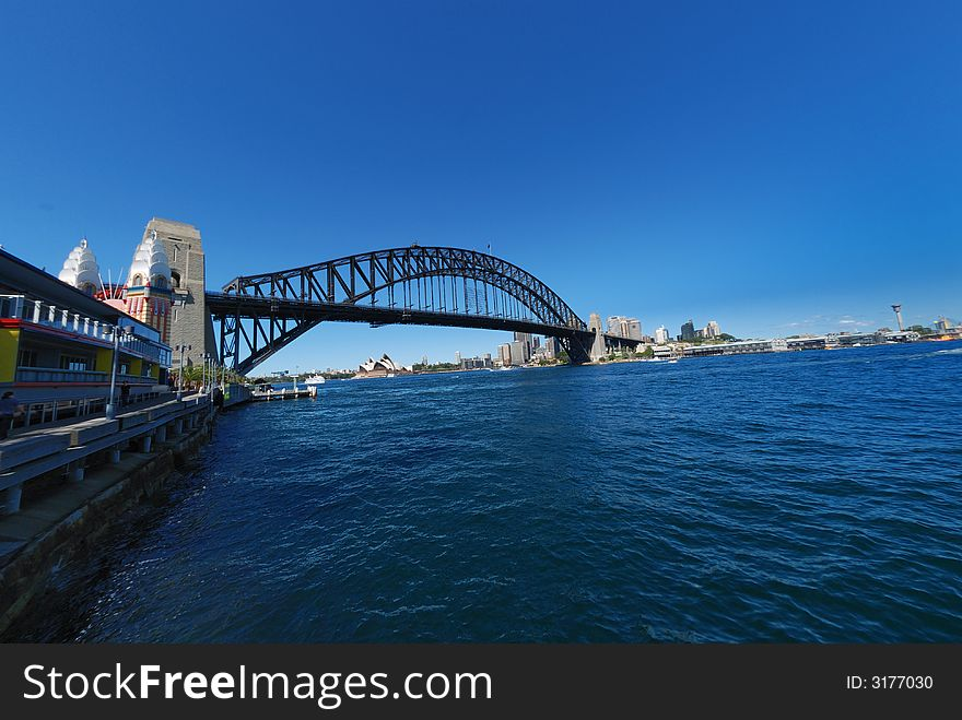 Sydney Harbour Bridge blue sky
