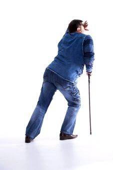 Free A Young Man With A Cane Pain Stock Photography - 31704252