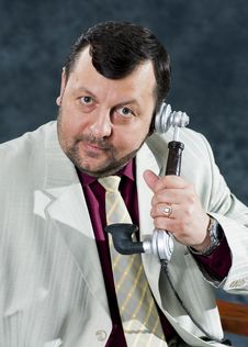 Free Portrait Standing Mafia Boss Showing Thumbs Stock Photo - 31704260