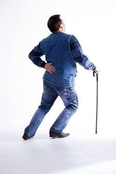 A Young Man With A Cane Royalty Free Stock Image