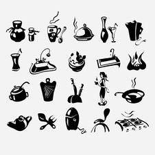 Free Icons On A Kitchen Theme Stock Photos - 31710553