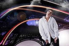 Free Dreamy Woman In White Shirt Looking Up Over Fantastic Abstract Background Royalty Free Stock Images - 31714129