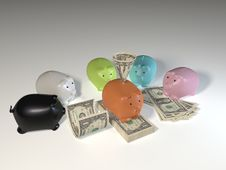 American Dollar Bills Piggy Bank Stock Image