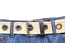 Free Blue Jeans And Leather White Belt Royalty Free Stock Photography - 31718957