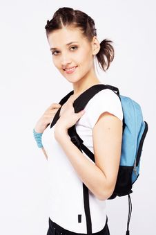 Free Cute Sporty Girl With Backpack Stock Photography - 31727772