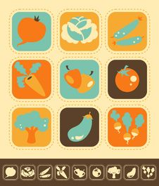 Free Vegetable Icon Set Royalty Free Stock Image - 31728776