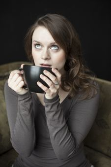 Young Woman With Black Coffee Cup Stock Photos