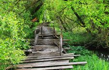 Free Dangerous Wooden Bridge Royalty Free Stock Photos - 31740048