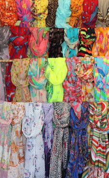 Free Collection Of Colorful Hanging Shawls Stock Images - 31749834