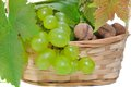 Free Basket Of Grapes And Nuts Stock Photography - 31750382