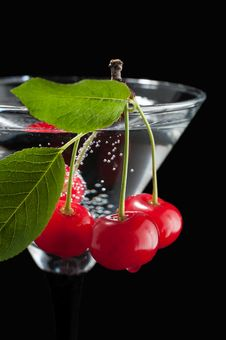 Free Cherries In A Martini Glass. Royalty Free Stock Images - 31750859