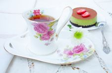 Dessert - Tea And Cake Tiramissu Stock Photos