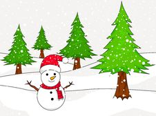 Free Christmas Snowman With Spruce Royalty Free Stock Photography - 31759147