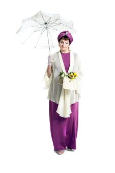 Free Woman With Flowers Holding Umbrella Royalty Free Stock Photo - 31764435