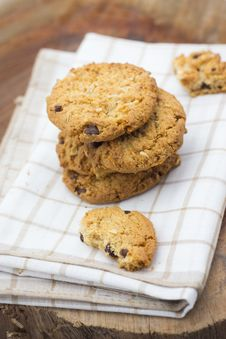 Free Stacked Chocolate Chip Cookies Royalty Free Stock Image - 31765026