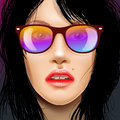 Free Woman Beauty Face In Sunglasses, Drawing Fashion Illustration. Royalty Free Stock Photos - 31772948