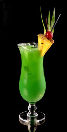 Green Cocktail With Pineapple Royalty Free Stock Photo