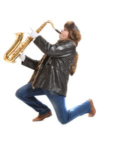 Young Man Playing On Saxophone
