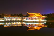 Free The Inverted Reflection In Water Night Xian Royalty Free Stock Photos - 31779928