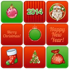 Set Of Nine Christmas Retro Cards Royalty Free Stock Image