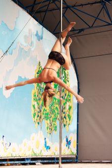 Young Gymnast Girl Doing Exercises Stock Photography