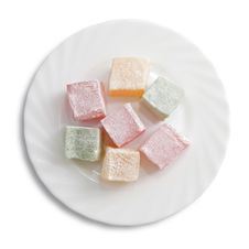 Turkish Delight On A Plate Isolated Royalty Free Stock Images