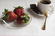Strawberry, Chocolate And A Cup Of Coffee In The Morning Stock Images