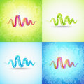 Free Impressive Pink Wave On Retro Green Background Stock Photography - 31795052
