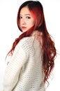 Free Asian Women Red Long Hair In Modern Fashion Stock Photos - 31797243