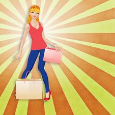 Free Blond Woman With Shopping Bags Royalty Free Stock Image - 31793056