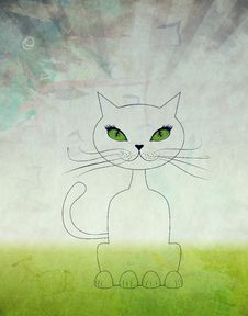 Free Cartoon Cat Sit Royalty Free Stock Images - 31793069