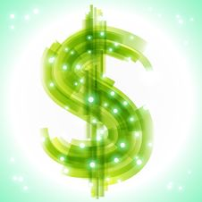 Green Money Symbol With Transparency And Lights Stock Images