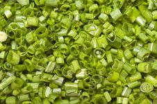 Chopped Green Onions, Or Leeks Shot From Above. Royalty Free Stock Photography