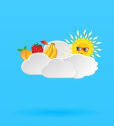 Free Blue Background With Fruits And Sun In The Clouds Stock Photography - 31796812