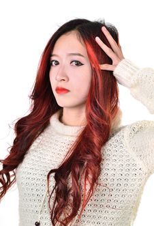 Free Asian Women Red Long Hair In Modern Fashion Royalty Free Stock Photo - 31797175