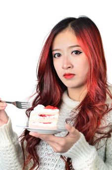 Free Asian Women Red Long Hair In Modern Fashion Royalty Free Stock Images - 31797199
