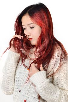 Free Asian Women Red Long Hair In Modern Fashion Stock Image - 31797251