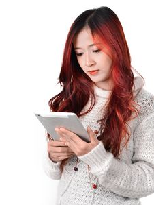 Free Asian Women Red Long Hair In Modern Fashion Royalty Free Stock Photography - 31797257