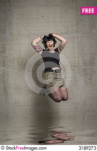 Free Jumping Woman Stock Photos - 3189273