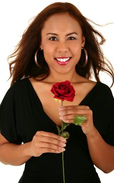 Free Beautiful Model Holding Rose Royalty Free Stock Images - 3181579